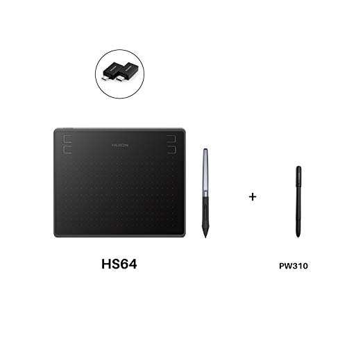 "Huion HS64 Graphics Drawing Tablet 6.3""x 4"" Battery-Free Stylus Android Devices Supported with PW100 and Huion Scribo PW310"