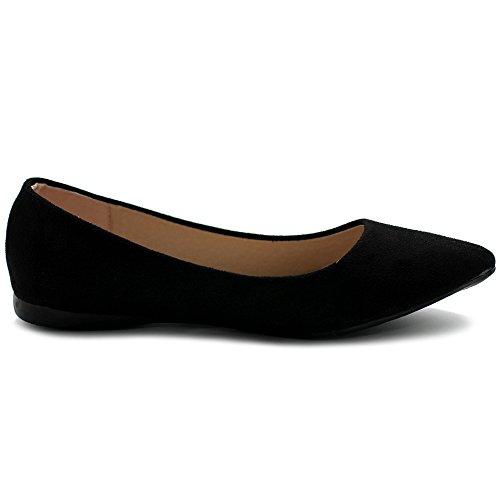 Ollio Womens Ballet Comfort Light Faux Suede Multi Color Shoe Flat Black
