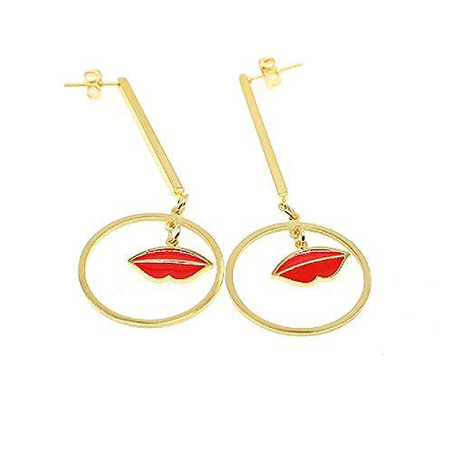 Geometric Triangle Earring Metal Simple Drop Dangle Earring Plating Gold Black Bohemian Dangling Costume Earring For Women Girl Bar Party Fashion Jewelry (Round red lip earring) -