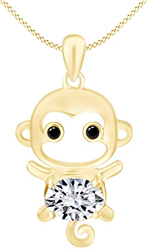 Cubic Zirconia Cute Monkey Animal Cartoon Pendant Necklace in 14K Yellow Gold Over Sterling Silver ()