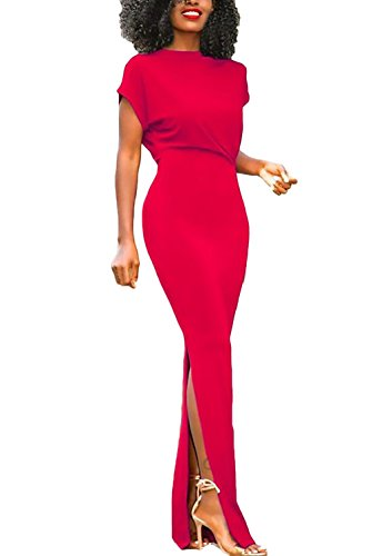 f75d3150f8c0 Puro Da Collo Estivi Rotondo Colore Manica Corta Donna Eleganti Vestito  Ragazza Slim Abito Abbigliamento Giovane ...