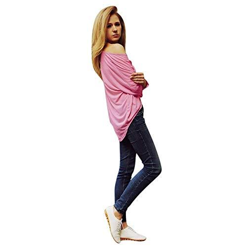 Libero Lunghe Donna Camicia Magliette Asimmetrico Abbigliamento Camicetta Rosa Collo Tops Bluse Autunno Maniche Monocromo Primaverile Forti Rotondo Tempo Elegante Relaxed Taglie rxCrndZ