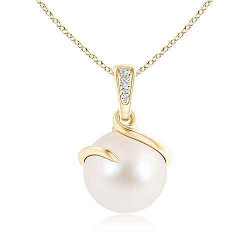 Twist Freshwater Cultured Pearl and Diamond Pendant Necklace for Women with Spiral Metal Loop in 14K Yellow Gold (10mm Freshwater Cultured Pearl)