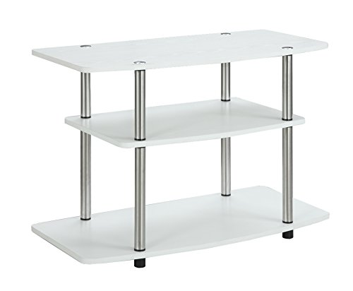 Glass Mission End Table (Convenience Concepts 3-Tier TV Stand, White)