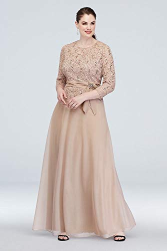 3/4 Sleeve Glitter Lace Plus Size Mother of Bride/Groom Gown with Sash Style 960545W, Toast, WP22