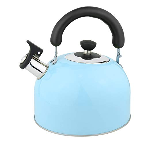 Riwendell 3.2 Quart Whistling Candy ColorTea Kettle Stainless Steel StoveTop Teapot (GS-04025-3L, Blue)