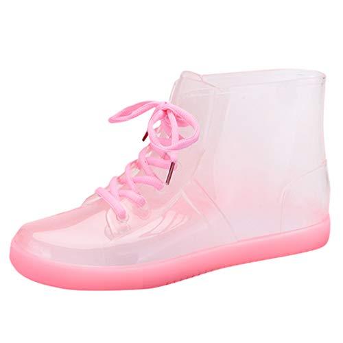 Goddessvan Non-Slip Waterproof Shoes Cover Transparent Rain Boots Flat Shoes Comfortable Versatile Shoes Pink