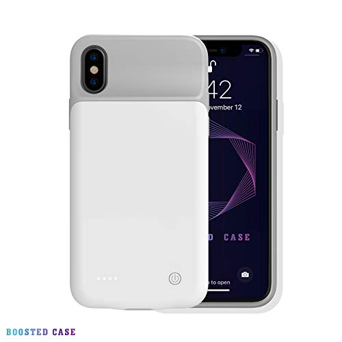 Boosted Case, Ultra Slim Smart Battery Charging Case iPhone X/Xs (3200mAh), iPhone XR iPhone Xs Max (4000mAh) Fully Covered Protection, Lighting Cable Compatible (White, iPhone X 3200mah)