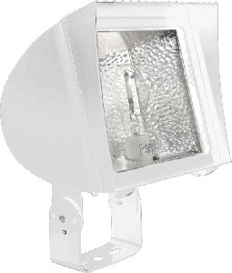RAB Lighting FXL250TQTW High Pressure Sodium Flex Floodlight with Trunnion mount, ED18 Type, Aluminum, 250W Power, 28500 Lumens, 120/208/240/277V, White
