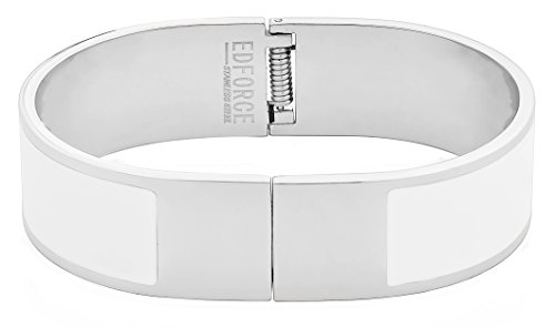 Plated White Enamel - EDFORCE Stainless Steel Women's Silver Plated Enamel Bangle Bracelet Buckle Clasp Stackable (White)