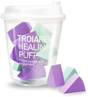 TROIAREUKE Healing Puff Sponge 10 Count in 1 Pack - Beauty Makeup Blender Sponge for Mini Multi-Color Blending Tools, Foundation Powder Concealer Liquid BB and Cream