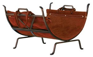 UniFlame Olde World Iron Log Holder with Suede Leather Carrier (Wood Uniflame Holder)