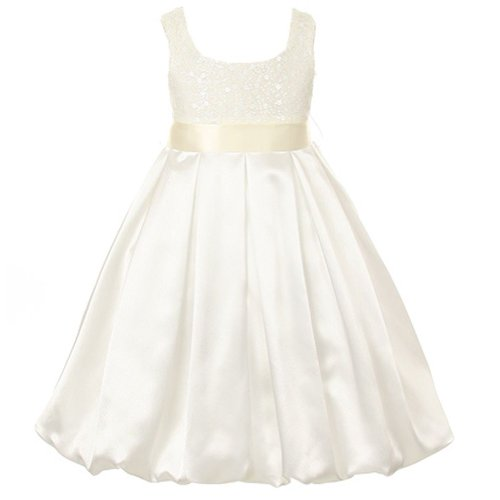 Kids Dream Ivory Sequined Satin Bubble Christmas Dress Girls (Sequined Bubble Dress)