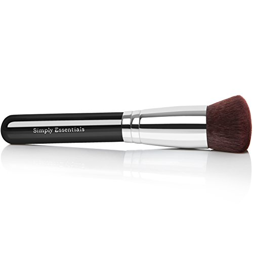 BEST ROUND KABUKI MAKEUP BRUSH for Liquid, Cream Mineral, Powder Foundation & Face Cosmetics - Prime Quality Design - Carrying Case & E-Book Included ()