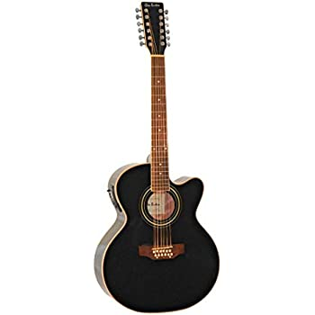 Amazon.com: 12 String Acoustic Electric Cutaway Jumbo Black Guitar ...