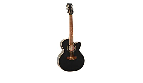 Amazon.com: 12 String Acoustic Electric Cutaway Jumbo Black Guitar with Built-in Tuner Combo with Gig Bag and Accesories. Guitarra Electrica Acustica ...