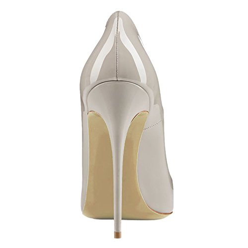 Pointy Heels High Toe EKS Dress Sexy Grey Court Patent Shoes Pumps Party Women's qxawqEXp