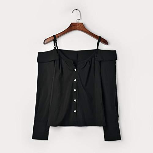 Camicetta Lunga Nero Shirt Donna Top Felpa Manica T Camicia Autunno Maglietta wzvYvF