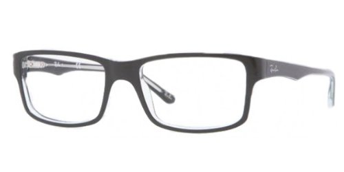 Ray-Ban RX5245 Square Eyeglass Frames, Black On Transparent/Demo Lens, 54 ()