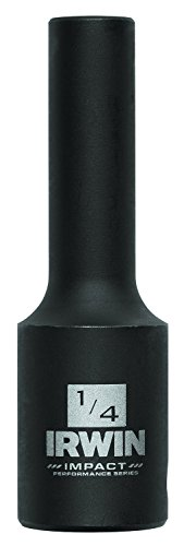 IRWIN Tools 1877471 Impact Performance Series 6-Point Deep Well Socket Bit, 1/4-Inch, 3/8-Inch Square Drive