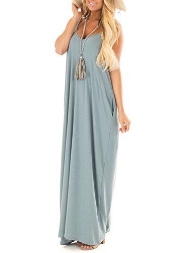 Jug&Po Women's Summer Casual Plain Swing Loose Beach Cami Maxi Dress with Pockets(Light Blue Large)