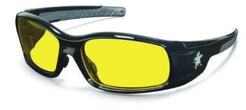 (Crews SR114 Swagger Brash Look Polycarbonate Dual Lens Glasses with Polished Black Frame and Amber Lens)