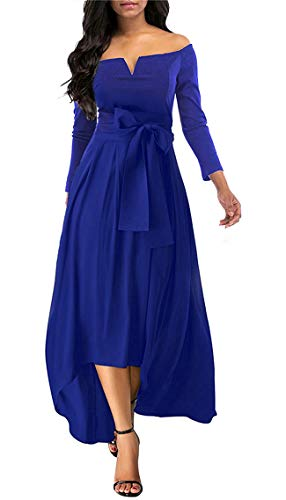 Annystore Women Elegant Plain Off The Shoulder High Low Formal Party Maxi Dress with Belt Blue XXL