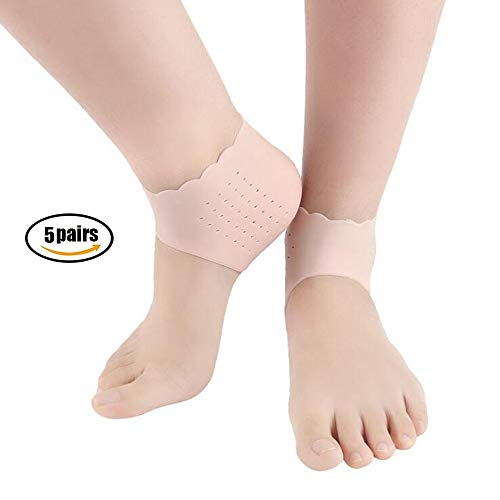 HAIHF Silicone Gel Heel Sleeve, Silicone Gel Heel and Ankle Sleeve for Plantar Fasciitis Gel Sleeves Protectors Breathable Silicone Protective Heel Relieve Pain and Pressure Protect Bone & ()