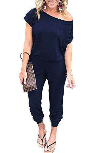PRETTYGARDEN Women Casual Short Sleeve One Shoulder Solid Waisted Long Jumpsuit Romper Navy