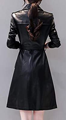2ac68690692 CRYYU Women Belted Slim Fit Double Breasted Faux Leather Long Trench ...