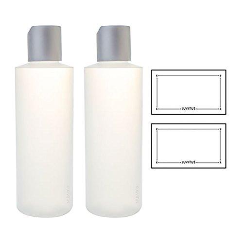 Clear Natural Refillable Plastic Squeeze Bottle with Disc Cap - 6 oz (2 Pack) + Labels Toner 6 Oz Bottle