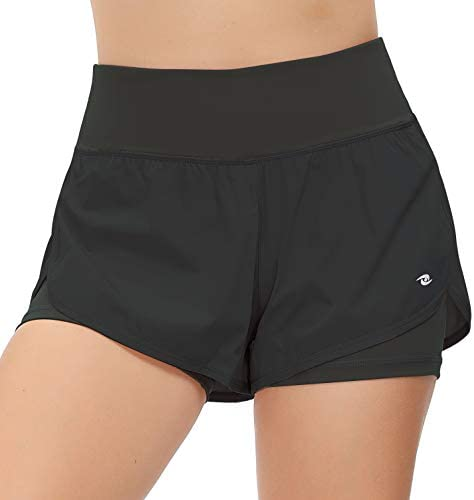 Eyesoul Womens Workout Shorts Athletic Running Yoga Double Layer Shorts with Back Pockets S-XXL