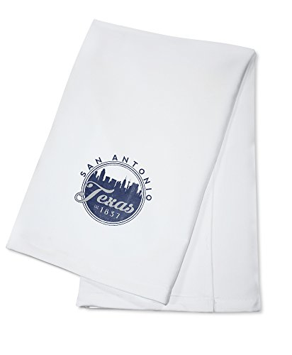 Texas San Antonio Seal (San Antonio, Texas - Skyline Seal (Blue) (100% Cotton Kitchen Towel))