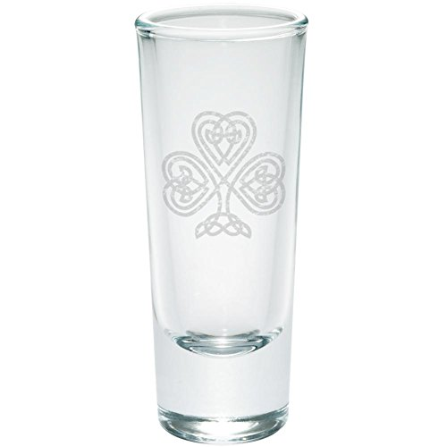 - St Patrick's Day Celtic Knot Shamrock Etched Shot Glass Shooter Clear Glass Standard One Size