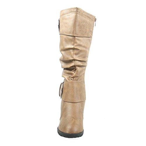 Women's Round Calf Fashion Mid Toe Pure Conac Buckle Boot Slouch Shoes Wedge Top 65 Moda qIwXtpP