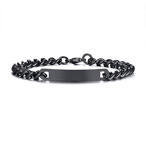 GAGAFEEL Custom Bracelet Engraved Name Date Personalized Wrist Link for Women Men Titanium Stainless Steel Cuff Couple Friends Gift (Black-Width 7mm)