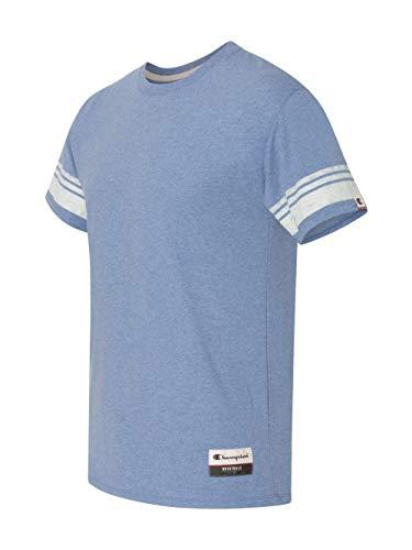 (Champion Men's Authentic Originals Tri-blend Short Sleeve Varsity Tee, Blue Jazz Heather Stripe,)