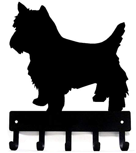 The Metal Peddler Yorkshire Terrier (Trim) Yorkie or Westie Key Rack Dog Leash Hanger