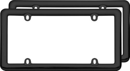 Black Plastic License Plate Frame - Cruiser Accessories 20642 Nouveau Two Frame Valu-Pak License Plate Frames, Black Plastic