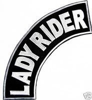 Lady Rider Patch Top Rocker Black Back Patches for Vest ()