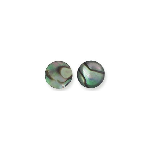 Shipwreck Beads Round Abalone Cabochon, Natural, 8-mm, 6-Pack