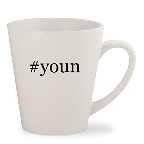 #youn - White Hashtag 12oz Ceramic Latte Mug Cup (Samsums Chat)