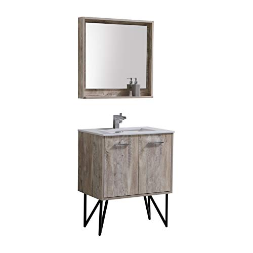 Bosco 30″ Modern Bathroom Vanity w/Quartz Countertop and Matching -