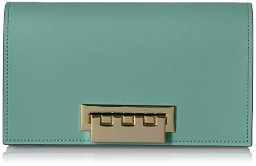 (ZAC Zac Posen Earthette Clutch-Colorblock w/Floral Applique-Green, evergreen )