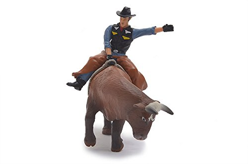- Little Buster Toys Bull Rider - Cowboy on a Brown Bucking Bull, 1/16th Scale
