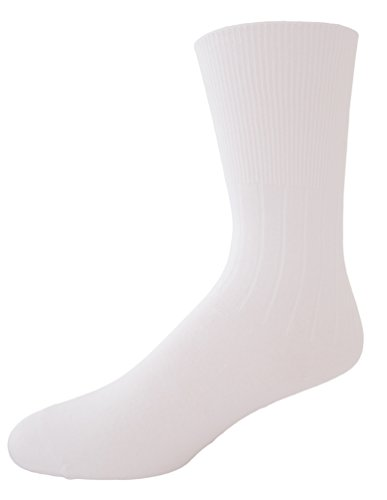 Classic Women's Ladies Plus Size Queen Diabetic Non-Binding Casual Soft Cotton Knit Classic Crew Dress Hosiery Socks 3-Pack White 10-13