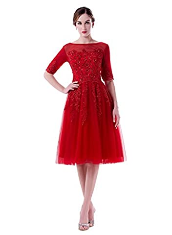 Huifany O-Neck A-line Dress for Women Cocktail Party Gowns - Las Vegas Wedding Invitation Wording