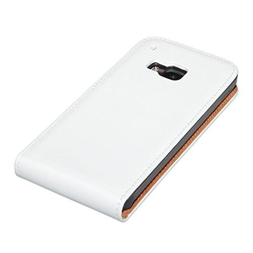 deinPhone HTC One M9 de piel con tapa para PREMIUM Case-blanco