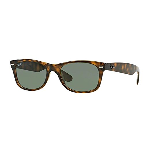 Ray-Ban RB2132 New Wayfarer Sunglasses, Tortoise/Green, 55 mm ()