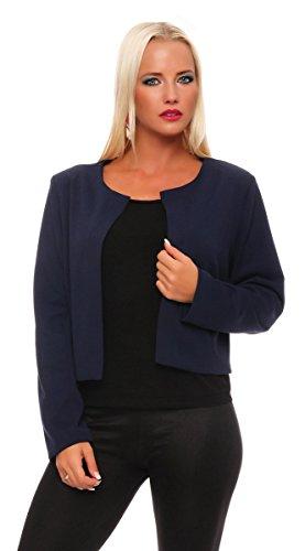 10743 Fashion4Young Damen Kurzjacke Blazer Jäckchen Jacke kurze Bolero-Design verfügbar in 5 Farben (34 36 38, Dunkelblau)